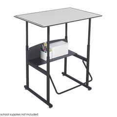 """AlphaBetter® Adjustable-Height Stand-Up Desk, 36 x 24"""" Premium Top and Swinging Footrest Bar Gray/Black"""
