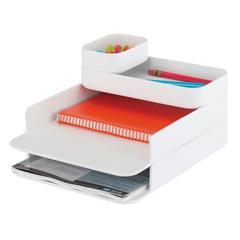Stacking Plastic Desktop Sorter Set White