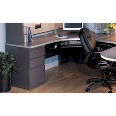J Table Right Return with B/B/F Pedestal, Pewter