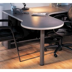 P Table Right Return w/conference end, Pewter
