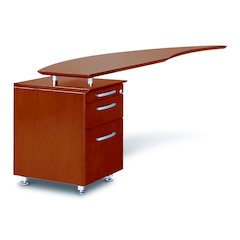 Curved Desk Return With Pencil-Box-File Pedestal (Left), Sierra Cherry