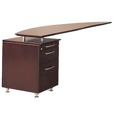 Curved Desk Return With Pencil-Box-File Pedestal (Left), Mahogany