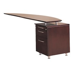 Curved Desk Return With Pencil-Box-File Pedestal (Right), Mahogany