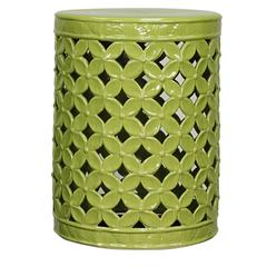Lattice Leaves Ceramic Garden Stool, Green