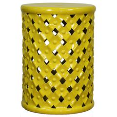 Lattice Ceramic Garden Stool, Lemon