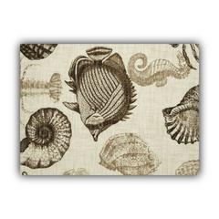 UNDER THE SEA taupe Indoor/Outdoor Placemats - Finished Edge (Set of 2)