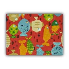 GONE FISHING Red Indoor/Outdoor Placemats - Finished Edge (Set of 2)