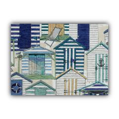 BEACH VILLAGE Blue Indoor/Outdoor Placemats - Finished Edge (Set of 2)