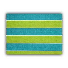MADALENA STRIPE Turquoise Indoor/Outdoor Placemats - Finished Edge (Set of 2)