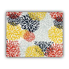 BURSTING BLOOMS Yellow Indoor/Outdoor Placemats - Finished Edge (Set of 2)