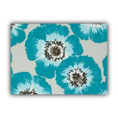 POP OF POPPIES Aqua Indoor/Outdoor Placemats - Finished Edge (Set of 2)