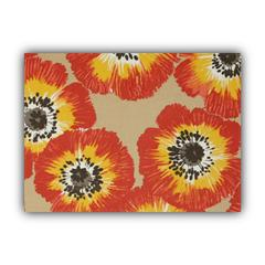 POP OF POPPIES Orange Indoor/Outdoor Placemats - Finished Edge (Set of 2)