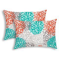 BURSTING BLOOMS Orange Indoor/Outdoor Pillow - Sewn Closure (Set of 2)