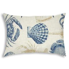 UNDER THE SEA Navy Indoor/Outdoor Pillow - Sewn Closure