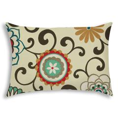DECO POMS Red Indoor/Outdoor Pillow - Sewn Closure