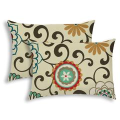 DECO POMS Red Indoor/Outdoor Pillow - Sewn Closure (Set of 2)