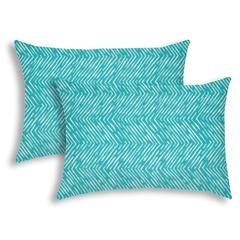 WATER WAVE Turquoise Indoor/Outdoor Pillow - Sewn Closure (Set of 2)