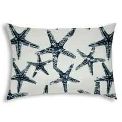 FLOATING STARFISH Navy Indoor/Outdoor Pillow - Sewn Closure