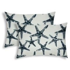 FLOATING STARFISH Navy Indoor/Outdoor Pillow - Sewn Closure (Set of 2)