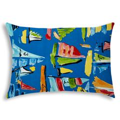LAZY LEEWARD Blue Indoor/Outdoor Pillow - Sewn Closure