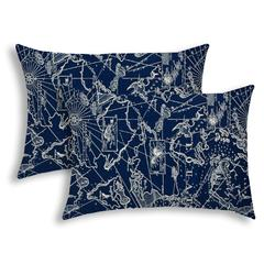 BAHAMA BREEZE Navy Indoor/Outdoor Pillow - Sewn Closure (Set of 2)