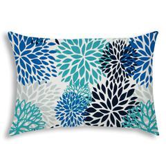 BURSTING BLOOMS Aqua Indoor/Outdoor Pillow - Sewn Closure