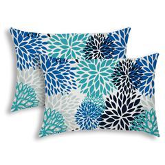 BURSTING BLOOMS Aqua Indoor/Outdoor Pillow - Sewn Closure (Set of 2)