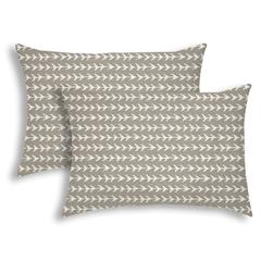 TREK Taupe Indoor/Outdoor Pillow - Sewn Closure (Set of 2)