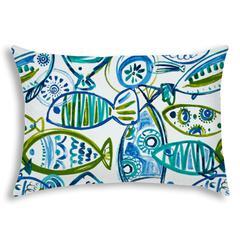 SCHOOLING FISH Aqua Indoor/Outdoor Pillow - Sewn Closure