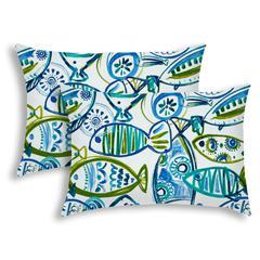 SCHOOLING FISH Aqua Indoor/Outdoor Pillow - Sewn Closure (Set of 2)