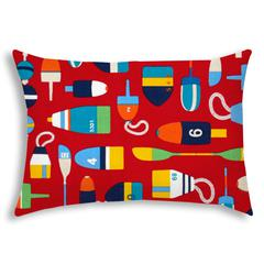 BUOY Red Indoor/Outdoor Pillow - Sewn Closure