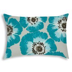 POP OF POPPIES Aqua Indoor/Outdoor Pillow - Sewn Closure