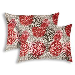 BURSTING BLOOMS Brown Indoor/Outdoor Pillow - Sewn Closure (Set of 2)