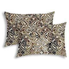 KOLKATA Black Indoor/Outdoor Pillow - Sewn Closure (Set of 2)