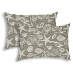 MARCO ISLAND Taupe Indoor/Outdoor Pillow - Sewn Closure (Set of 2)