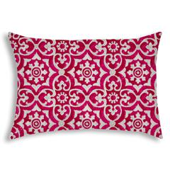 ATHENIA Raspberry Indoor/Outdoor Pillow - Sewn Closure