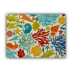 BEACHCOMBER Red Indoor/Outdoor Placemat - Finished Edge