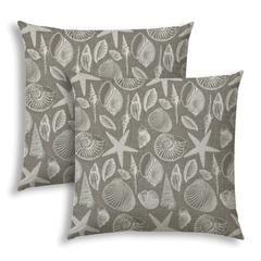 MARCO ISLAND Taupe Indoor/Outdoor Pillows - Sewn Closure (Set of 2)