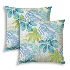 SPRING LEAVES White Indoor/Outdoor Pillows - Sewn Closure (Set of 2)