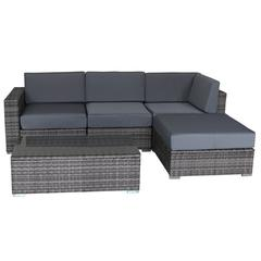 5 Piece Multi-Gray Outdoor Lounge Set with Cushions, Polyurethane Rattan Garden Furniture Set in Gray
