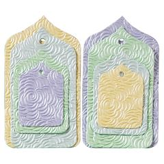 Blue Hills Studio Treasure Chest Tag Set Pastel Floral Embossed Arabian