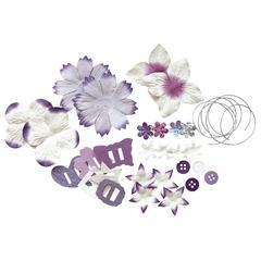 Potpourri Paper Flower & Embellishment Pack Purples