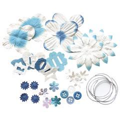 Blue Hills Studio Irene's Garden Potpourri Paper Flower & Embellishment Pack Blues