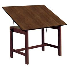"Alvin Titan Solid Oak Table Walnut Finish 31"" x 42"" x 30"""