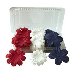 Blue Hills Studio Irene's Garden Box O'Blooms Flower Pack Red/White/Blue
