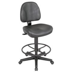 Black Leather Premo Drafting Height Ergonomic Chair