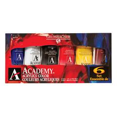 Grumbacher Academy Acrylic Paint 6-Color Set