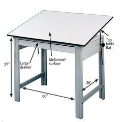 "Table Gray Base White Top 37.5"" x 60"""