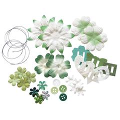 Potpourri Paper Flower & Embellishment Pack Greens