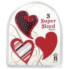 Hot Off the Press Super Sized Brads Red Heart